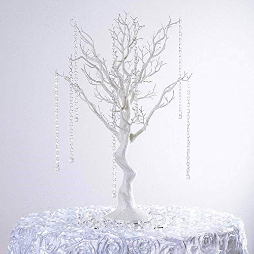 "LACGO 30"" Tall Glitter Natural Manzanita Tree, Fake Tree Artificial Tree for Wedding Banquet Event Tabletop Decorations with Clear Acrylic Garland Chains (White)"
