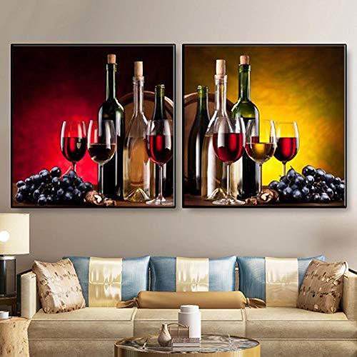 Naturaleza muerta pintura de vino de uva impresiones en lienzo carteles y fotos cuadros de vino modernos decoración de la pared de la sala de estar 60x60 cm-2 piezas sin marco
