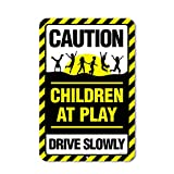 Honey Dew Gifts Caution Children at Play Warning Drive Slowly Neighborhood Watch 12 x 18 inch Metal Aluminum Sign, Kids Playing Street Sign, Driveway Safety Sign