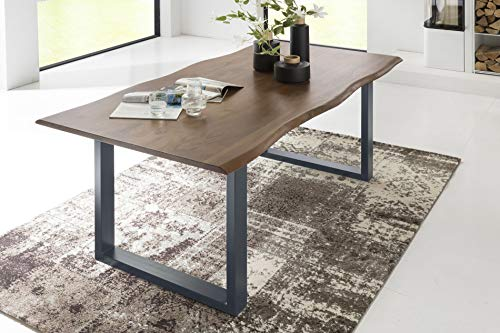 SalesFever Esszimmer-Tisch 200x100 cm   Akazie   echte Baumkante   nussbaum-farbig   silbernes U-Gestell aus Metall   Massiv-Holz