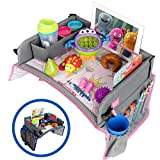Kids Travel Tray - Car Seat Tray - Travel Lap Desk Accessory for Your Child's Rides and Flights - it's a Collapsible Organizer that Keeps Children Entertained Holding Their Toys (Pink)