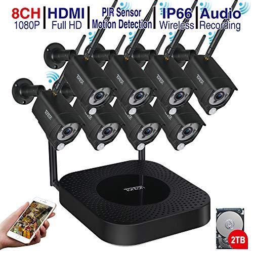 Kit de cámara de vigilancia Full HD para exteriores con 8 sistemas de cámaras de seguridad inalámbricas, sistemas de alarma para domótica con unidad de disco duro de detección de movimiento de 2 TB