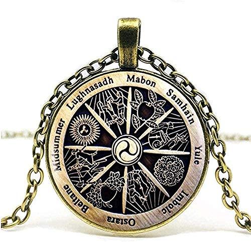 ZJJLWL Co.,ltd Necklace Zodiac Witchcraft Pendant Zodiac Vika Glass Pendant Necklace Vintage Necklace.