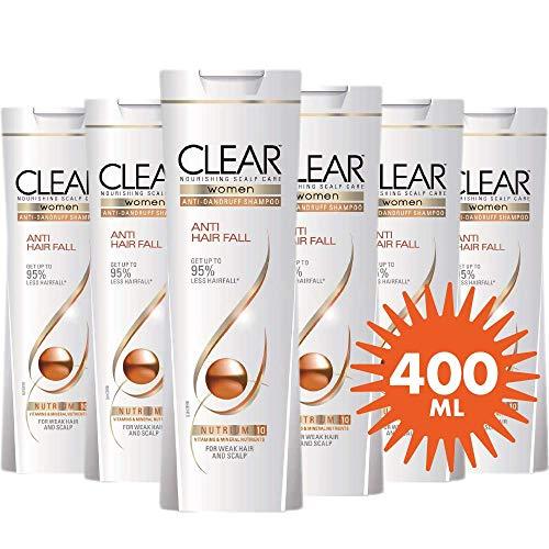 6x400ml Clear Anti-Schuppen Shampoo - Anti-Haarausfall, Für Frauen, Sparpack