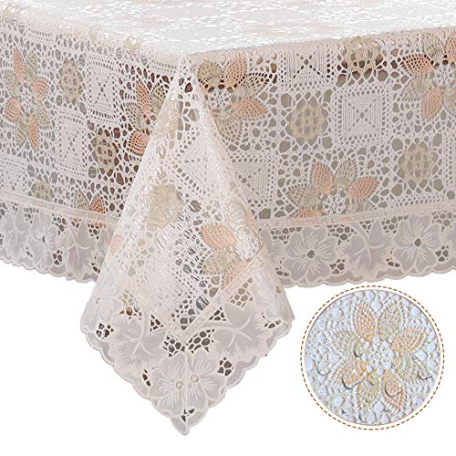 DITAO Waterproof Lace Tablecloth Vinyl Heavy Spill Proof Easy Care Table Cover for Square Table,60x60inch