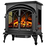 e-Flame USA 28' XL Denali Portable Freestanding Electric Fireplace Stove - 3-D Log and Fire Effect (Black)