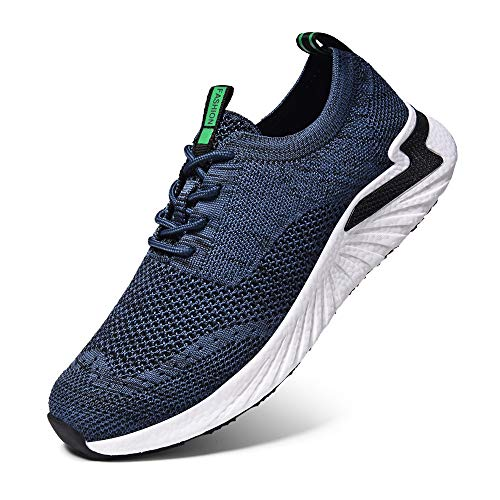 LK LEKUNI Zapatillas Running Hombre Mujer Zapatos Deporte para Correr Trail Fitness Sneakers Ligero Transpirable-Azul marino02-42