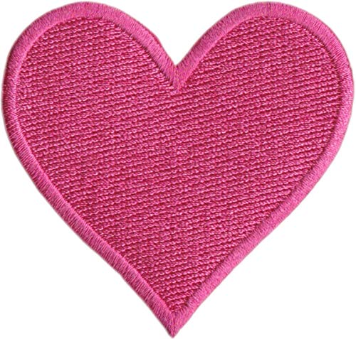 Hot Pink Heart - Embroidered Iron on Patch
