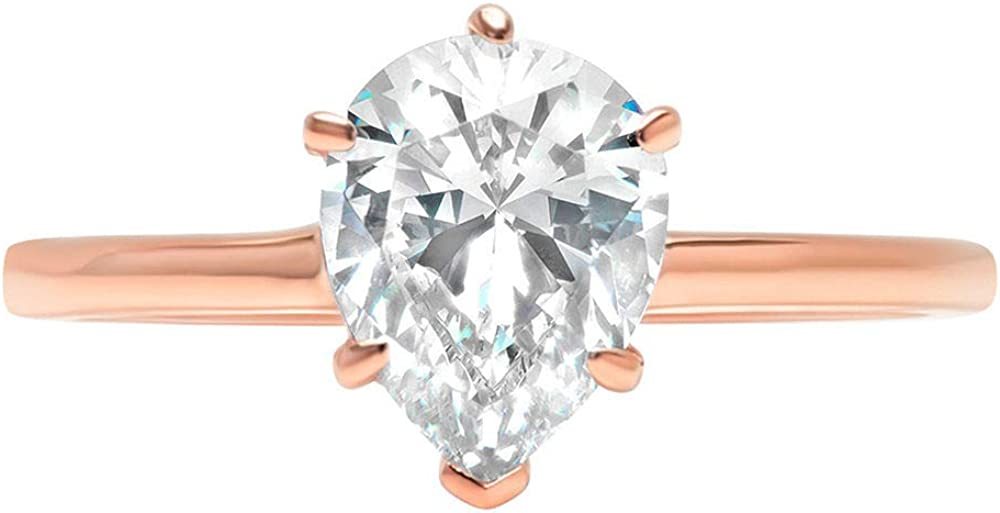 2.0 ct Brilliant Pear Cut Solitaire Genuine Moissanite Flawless Ideal VVS1 D 6-Prong Engagement Wedding Bridal Promise Anniversary Ring in Solid 14k Rose Gold for Women
