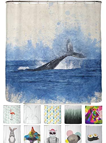 arteneur® - Wal Fisch - Anti-Schimmel Duschvorhang 180x200 mit Öko-Tex Standard 100 - Beschwerter Saum, Blickdicht, Wasserdicht, Waschbar, 12 Ringe und E-Book