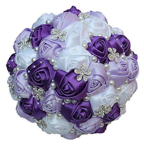 Quibine Bouquet de Mariage pour Mariée Romantique Rose Tenant des Fleurs Décor Strass Perle, Dia: 24cm, Violette+Lanvande+Blanc