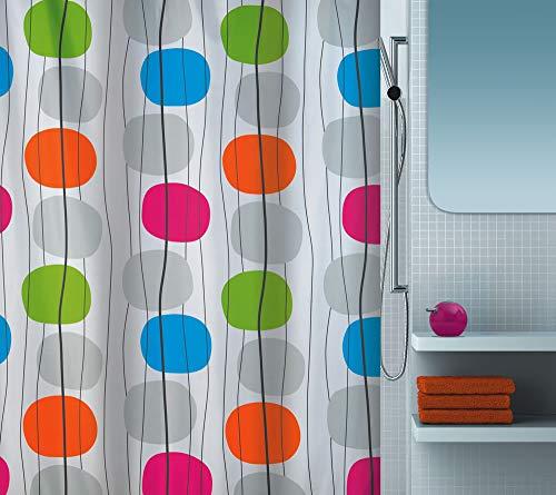 """Spirella Anti-Schimmel Duschvorhang - Anti-Bakteriell, waschbar, wasserdicht, Polyester, """"Mobile"""" 180x200cm Bunt"""