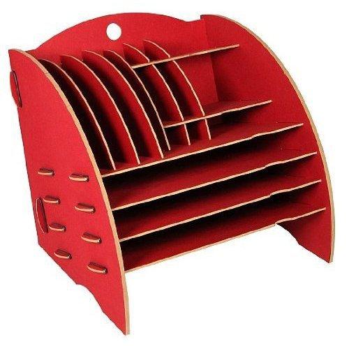 Werkhaus - opbergruimte Big Organizer in donkerrood, brievenbakje CD-standaard kleint.