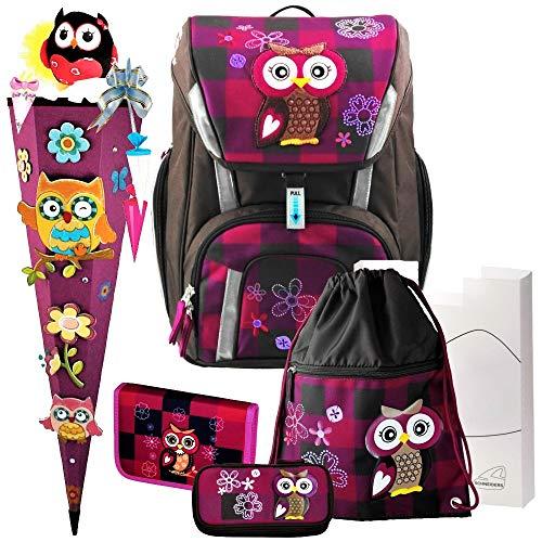 Olivia The OWL Toolbag SMART Schulranzen-Set 7-TLG. Eule Schneiders mit GEFÜLLTER FEDERMAPPE und 3D-Schnellbastel-SCHULTÜTE und SCHULTÜTEN-SCHMUCK-Set - 78320-051