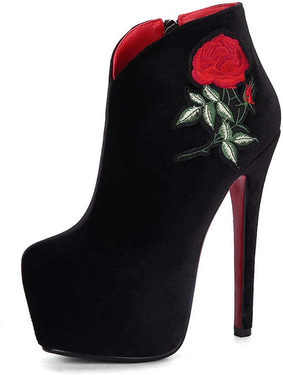 1TO9 Womens Spikes Stilettos Platform Embroidered Imitated Suede Boots MNS03299