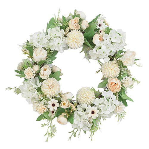 freneci Künstliche Blumenkranz 40cm | Seiden Türkranz Wandkranz Fensterkranz für Wohnaccessoire Dekorations - Hellgrün