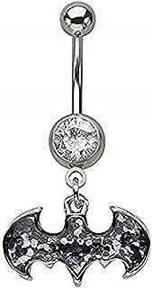 Belly Button Ring Navel 316L Surgical Steel, Cubic Zirconia, Logo, Gem, Batman Dangle Body Jewelry 14 Gauge