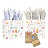 LIVEBAY 2 Sets Baby Small Gift Bags with Wrap Tissue Paper Baby Cards for Baby Shower Boy Girl Birthday Party