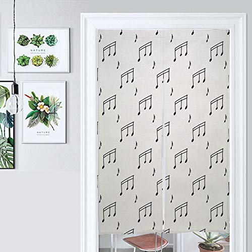 ALUONI Doorway Curtain Tapestry, Musical Notes Theme Melody Sonata Singing Song Clef Tunes Hand Japanese Noren Curtain Tapestry Door Way Curtain Door Hanging Tapestry AM023336 39.3 by 59 inch
