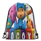 CTRGSM Pocoyo Bolsas con cordón Mochila con cordón con estampado liviano Bolsa de almacenamiento Bolsa de gimnasio Mochila para hombres y mujeres