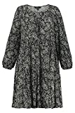 Ulla Popken Kleid, Blätterdruck Robe, Bleu Marine (74889270), 56-58 Femme