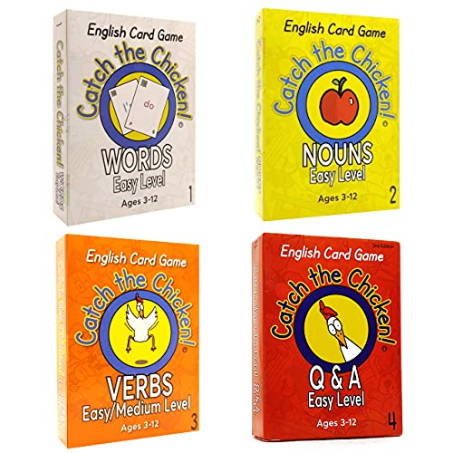Catch the Chicken English Card Game 4 pack value set EASY LEVEL Q & A Verbs Nouns Words 英語 カードゲーム 子供 言葉 動詞 名詞 セット 子供