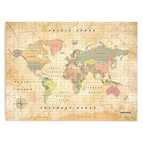 Miss Wood Woody Old School Mapa, Corcho, Multicolor, XL (60 x 90 cm)
