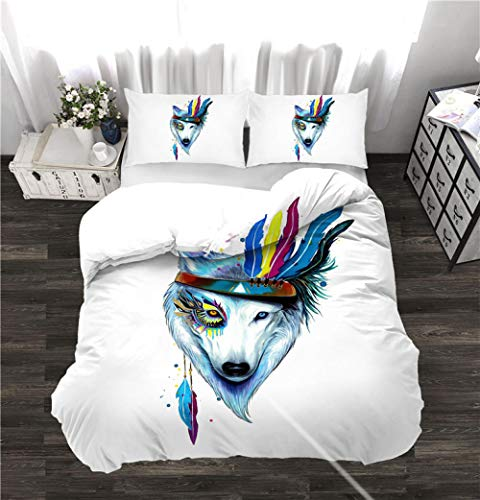 chenyike Duvet Covers Double Bed 200 x 200 cm with 2 Pillowcases 50 x 75 cm Microfiber Bedding set Indian wolf Soft Hypoallergenic Quilt Cover Set with Zipper Closure