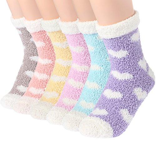 Plush Slipper Socks Women - Colorful Warm Fuzzy Crew Socks Cozy Soft...
