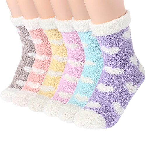 Plush Slipper Socks Women - Colorful Warm Fuzzy Crew Socks Cozy Soft...