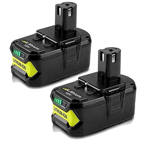 18V 4000mAh High Capacity Replacement Battery for Ryobi P104 P105 P102 P103 P107 P109 P108 P100 Lithium-ion Cordless Tools Battery (2 Packs)