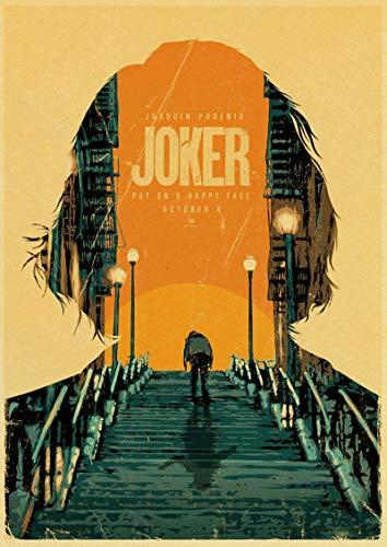 linbindeshoop Joaquin Phoenix Joker DC Movie Comics Wall Art Painting Print On Coffee Retro Poster Pictures Halloween Home Decor (LW-3467) 40x60cm No frame