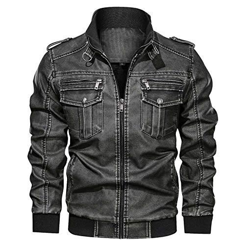 Herren Motorrad Biker Slim Fit Vintage Distressed Brown Lederjacke, Café Racer Herren Langarm Stehkragen Motorrad PU Leder Outwear Mantel