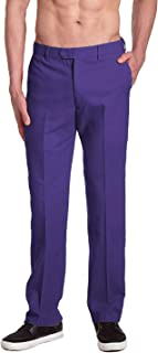Brand Men's COTTON Dress Pants PURPLE INDIGO Flat Front Mens Trousers
