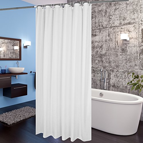 Aoohome White Fabric Shower Curtain Liner, Mildew Resistant Bathroom Curtain with Hooks for Hotel, Waterproof, 72 x 75 Inch