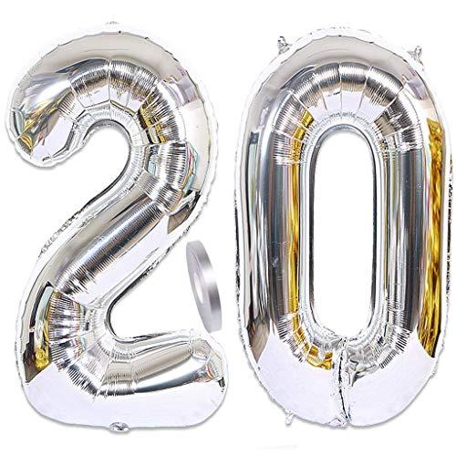 Feelairy Globos de helio con número 20, plateados, 2 unidades, 100 cm