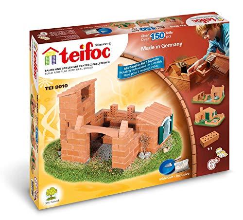 Teifoc TEI 8010 Steinbaukästen-Konstruktionsspielzeug-Variation-3 Pläne, Multi Color, Baukasten - Bauen Sie mit echten Ziegeln und Zement