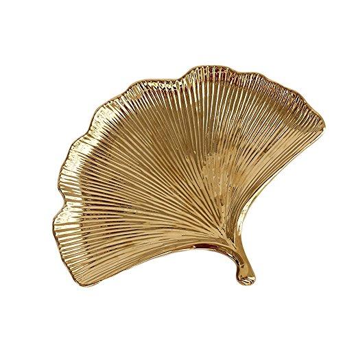 """Ginkgo Biloba Trays Jewelry Tray Gilded Ceramic 10"""", Gold"""