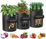 Skymico Bolsa para Plantar Papas Bolsa para Plantas de Jardín no Tejida Recipiente de Jardinería no Tejido de 7 Galones para Plantas, Papas, Tomates, Zanahorias, Cebollas (Negro)