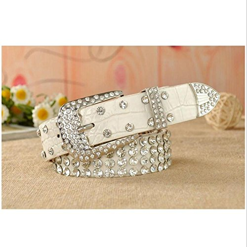 SZH&BELT Damen Gürtel Einfache Diamanten Leopard Breite Gürtel mit Jeans , white