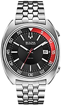 Bulova Accutron II Black and Red Dial Stainless Steel Quartz Men s Watch 96B210