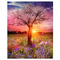 Wincy Shop Diy Trees Oil Painting Paint by Numbers Kits on Canvas with Acrylic Pigments with Wooden Framed or Not for Adullts (Without Frame, Beauty Tree)