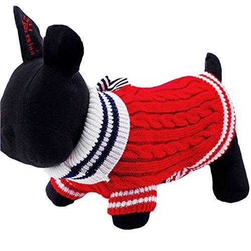 AiSi Hund Pullover Hündchen Strickjacke Jacke Hunde-T-Shirt, Haustier Kleidung für Kleine Hunde mit Schleife Rot M
