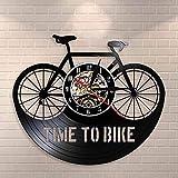 WTTA Reloj de Pared de Vinilo Ciclista Tiempo Ciclista inspiración Cita decoración del hogar Bicicleta de montaña Bicicleta Vintage Bicicleta Retro