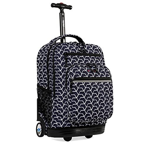 J World New York Sundance Rolling Backpack Girl Boy Roller Bookbag, Line, One Size