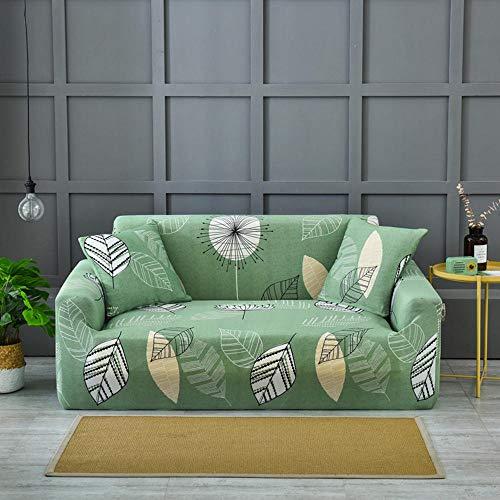HANTAODG Sofa-Überwürfe Sofa Abdeckung Grün Lässt Muster Sofa Couch Covers 2 Sitzer Schonbezug, Easy Stretch Elastic Fabric Sofa Protector Slip Cover Waschbar, Für Wohnzimmer Und Schlafzimmer