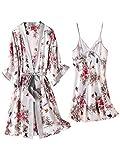 DFDLNL Pijamas de Seda Traje de Dos Piezas Pijamas de Primavera Conjunto de Bata Homewear Pijama de Encaje Mujer Ropa de Dormir Ropa de Dormir XXL