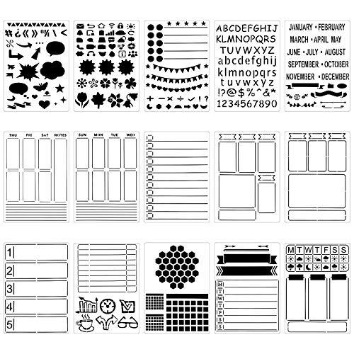 Meetory 15 Stück Journal Schablone aus Kunststoff, Journal Planer Schablonen DIY Malerei Zeichenschablonen für Notizbuch/Tagebuch/Scrapbooking DIY