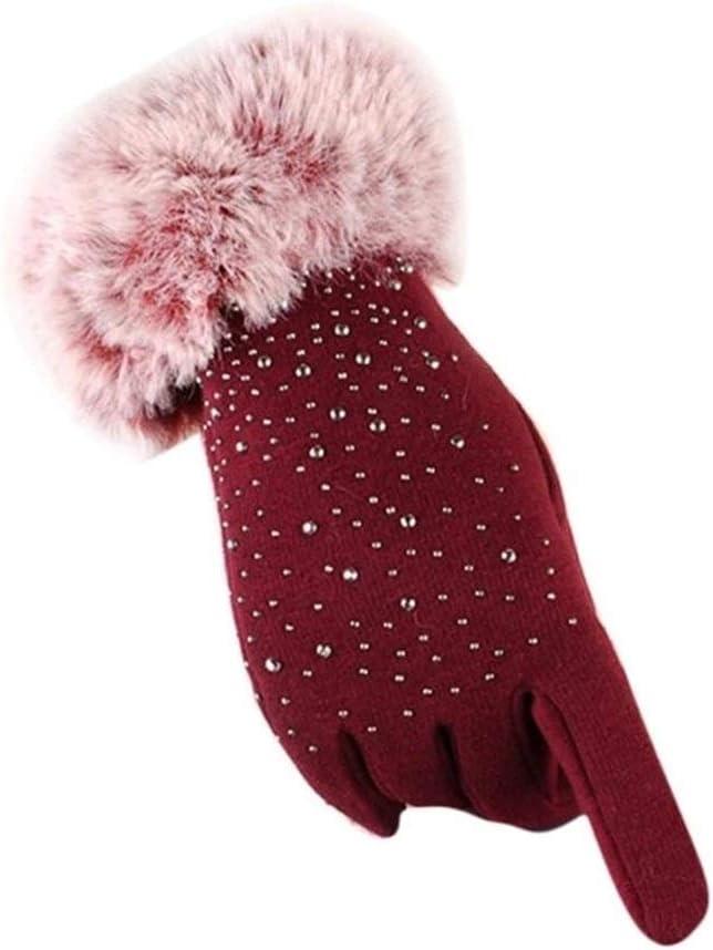 FASGION Women Full Finger Gloves Faux Fur Thicken Winter Warm Mittens Female Cashmere Gloves Hand Warmer Women's Gloves (Color : Red)