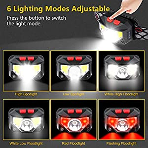 Linterna Frontal LED Recargable, Gritin Linterna Frontal Cabeza USB COB 8 Modos con Sensor y Luz Roja 500 Lúmenes Alto Brillante Ajustable Impermeable para Correr, Acampar, Excursión, Pesca, Ciclismo